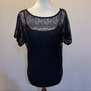 WHBM Lacey Black Top Size Medium